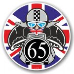 Year Dated 1965 Cafe Racer Roundel Design & Union Jack Flag Vinyl Car sticker decal 90x90mm